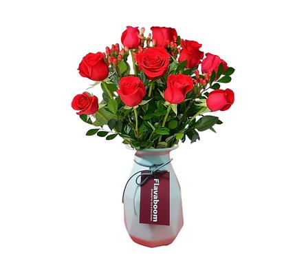 Cerámico Premium con 12 rosas y follaje