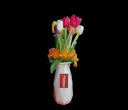 Cerámica blanco con 10 tulipanes colores variados