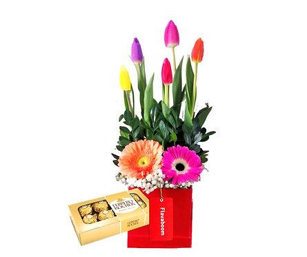 Box de 5 tulipanes, Gerberas y Chocolate Ferrero