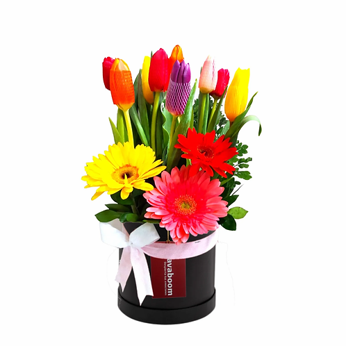 Sombrerera PREMIUM con Tulipanes y gerberas