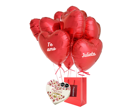 Bouquet de 9 globos metálicos en forma de corazón y Chocolate Princesa