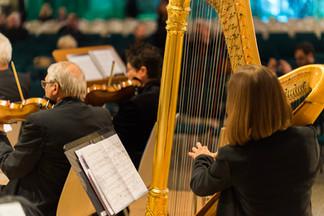 Christine Behringer an der Harfe