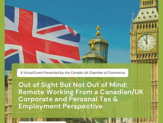 WEBINAR: Remote Working From a Canadian/UK Corporate and Personal Tax & Employment Perspective