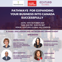 UK EVENT // October 13, 2021: Pathways for Expanding Your Business into Canada Successfully
