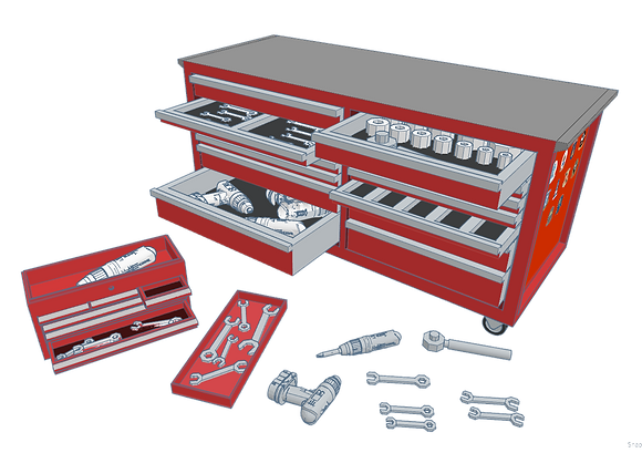 1:32nd scale 'BSG' Tool Chest & Tools