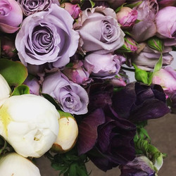 Richly coloured anemones complimented by Sterling Silver spray roses and white peonies