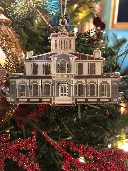 Gold & White Jemison Mansion Ornament