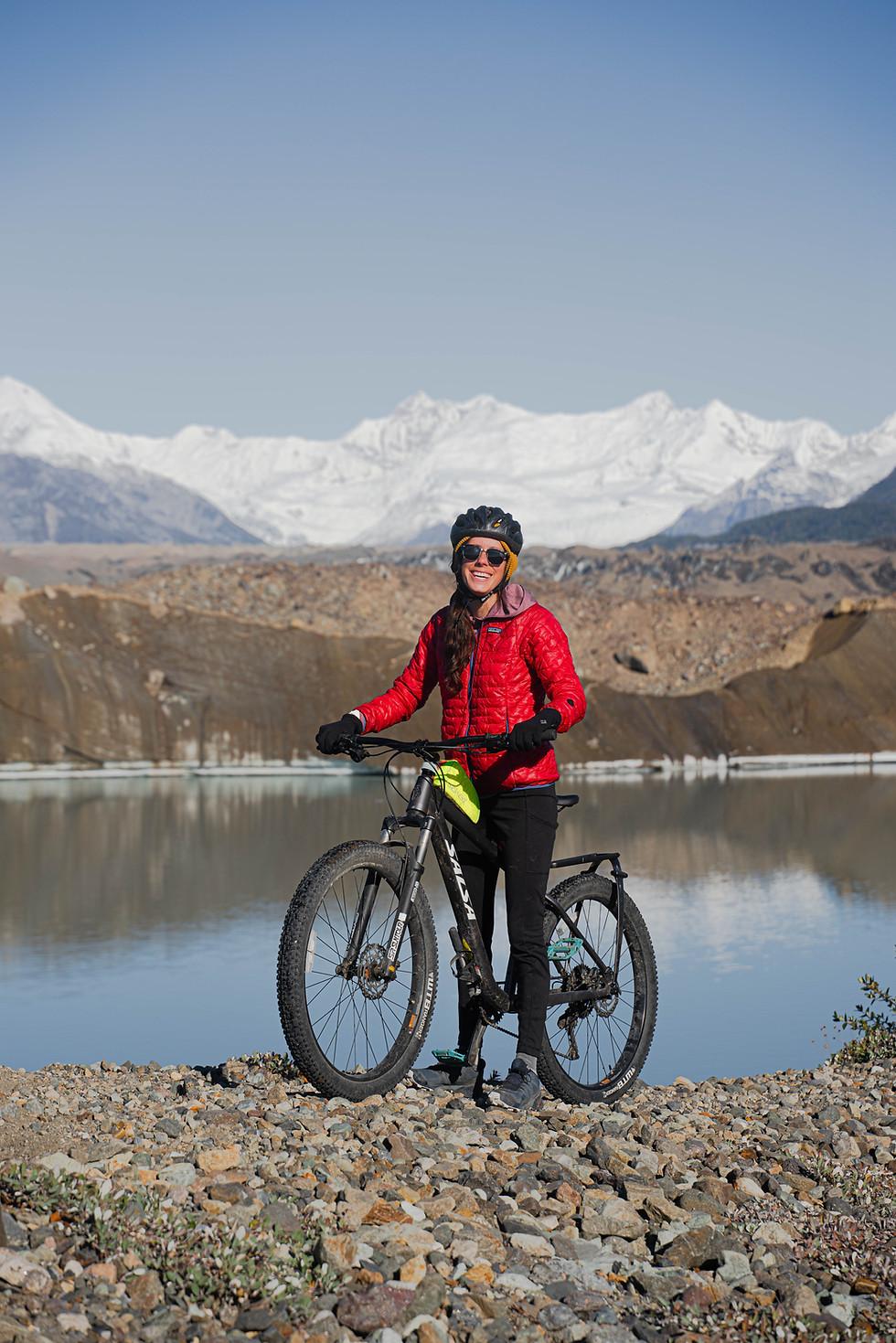 Biking in front of Kennicott Glacier, Wr