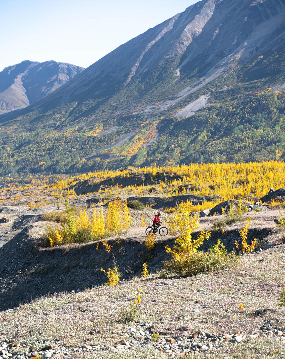 Biking along the toe of Kennicott Glacie
