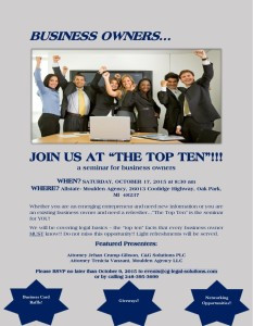 """Business owners…Join us at """"The Top Ten""""!!!"""