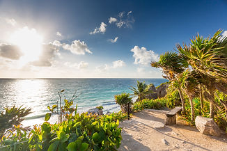 Sunrise on Tulum coast, Mexico..jpg