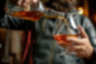 Whisky, brandy or cognac in glass. Alcoh