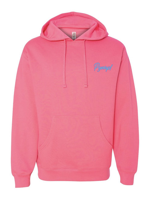 Neon Pink Hoodie with 3D Embroidery