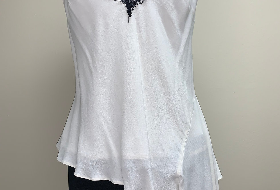 Asymmetrical Top - White with Black Lace
