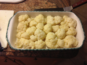 Align Cauliflower in oven proof dish