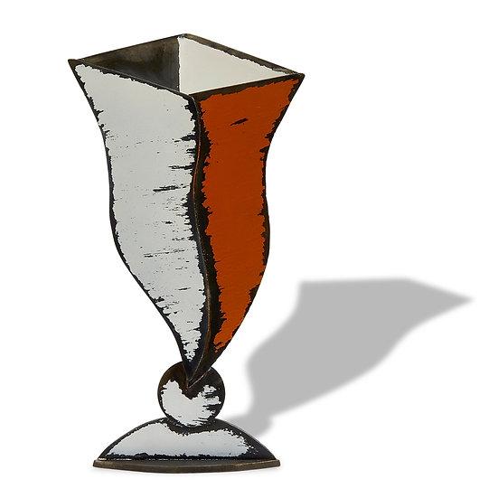 """Tempest"" Sculptured Metal Vase"