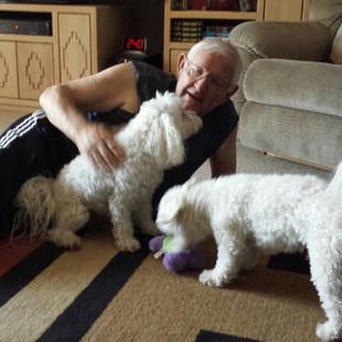 Owner of Love Your Pets Too, Ben Pectol with Bella and Bijou!