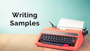Writing Samples of Steven Crayne