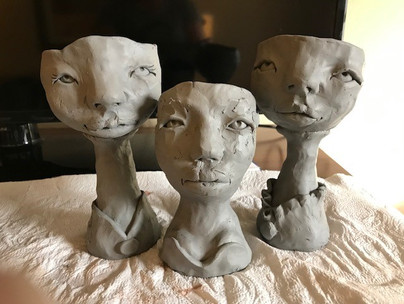 Unfired Wine Goblets in Process