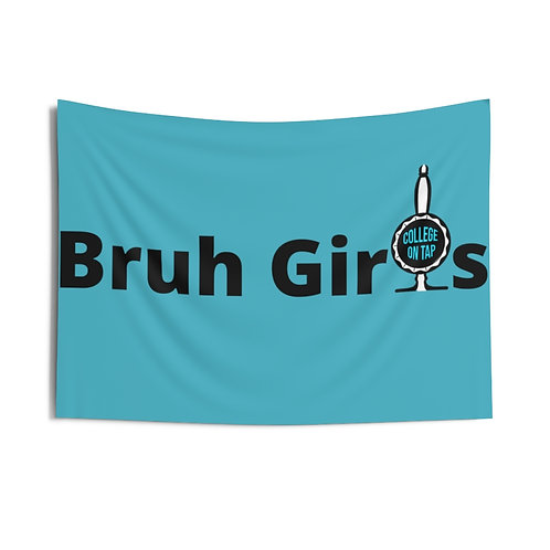Bruh Girls Blue Indoor Wall Tapestry