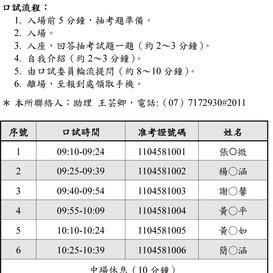 【招生資訊】性別教育博士學位學程110學年度招生入學之口試時間表