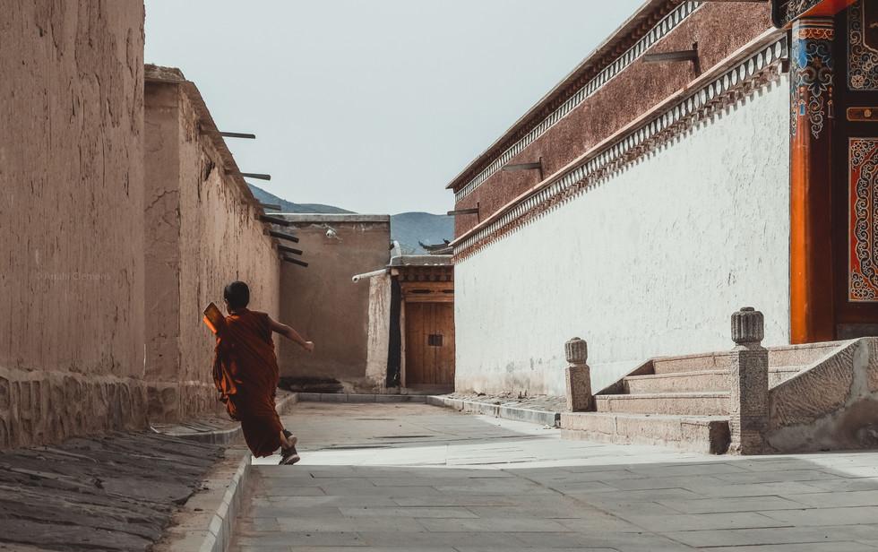 Monk running around the corner - Anahi C