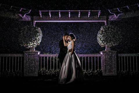 Romantic example of symmetry in portraiture purple rain