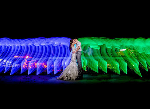 blue and green light painting portrait
