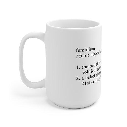 15oz Feminism Definition Mug, White