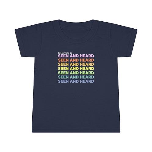 """""""Seen and Heard"""" Toddler Feminist T-shirt"""