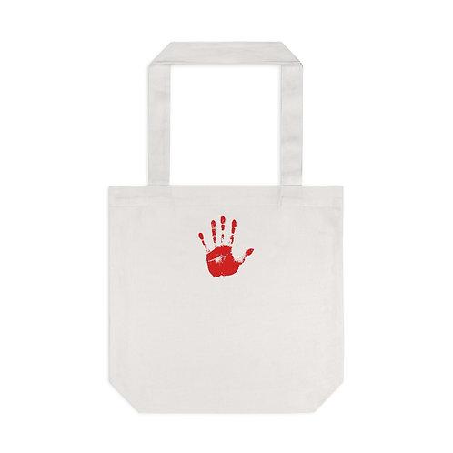 Red Handprint Feminist Tote, Cream