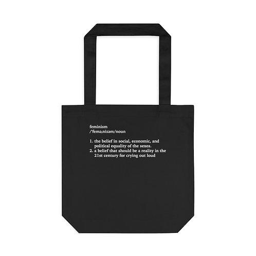 Feminism Definition Tote Bag, Black