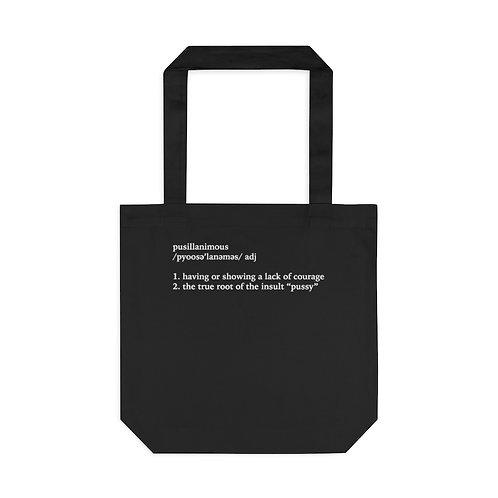 Pusillanimous Definition Tote Bag, Black