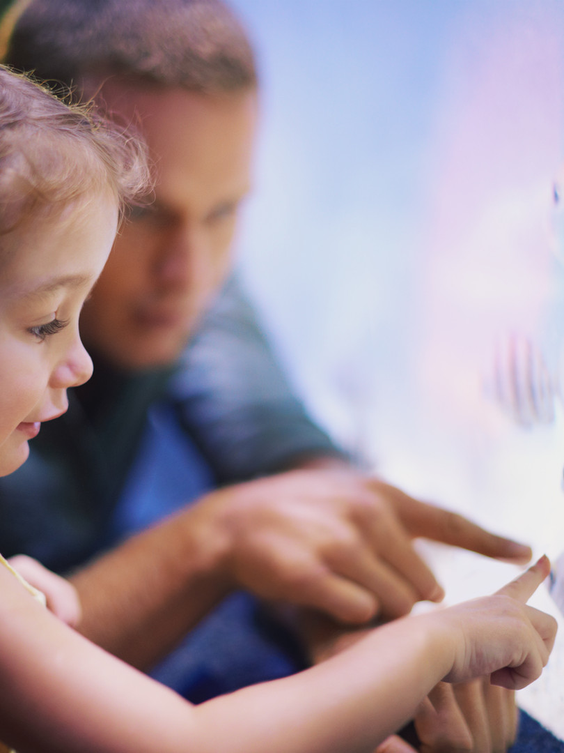 kids looking at fish