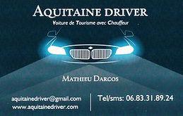 Vtc Bordeaux Aquitaine Driver carte de visite