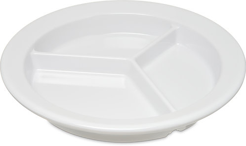 "Carlisle- Dallas Ware® Melamine 3-Compartment Deep Plate 9"" - White"