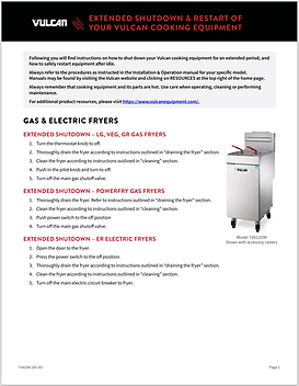 Vulcan: Gas & Electric Extended Shutdown Guide