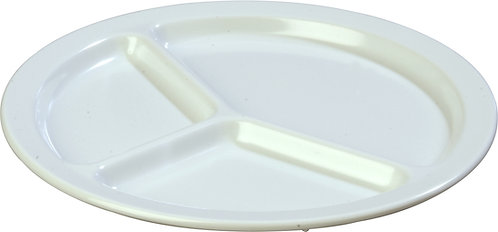 "Carlisle - Kingline™ Melamine 3-Compartment Plate 10"" - White"