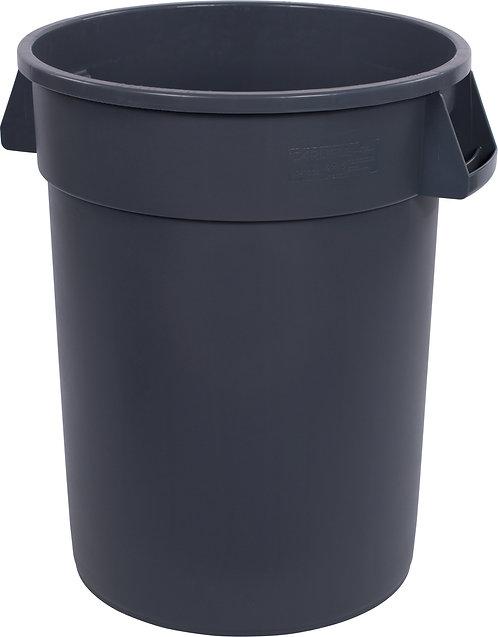 Carlisle - Bronco™ Round Waste Bin Trash Container 32 Gallon - Gray