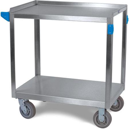 "Carlisle - Stainless Steel 2 Shelf Utility Cart 21"" x 33"" - Stainless Steel"