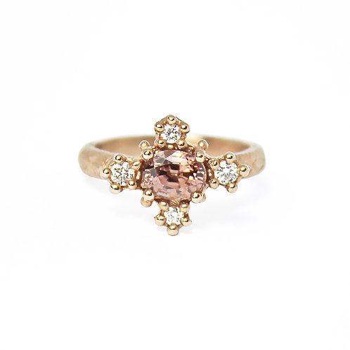 Pink Zircon Croix Ring