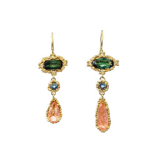 Green & Pink Midi Croix Drop Earrings