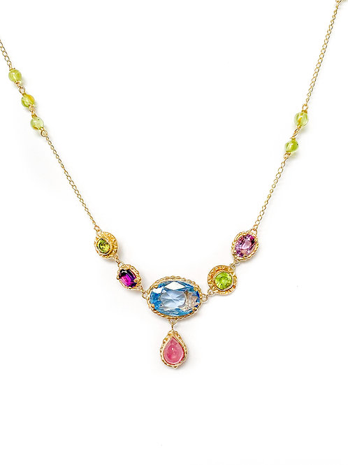 Blue, Purple, Green & Red Chandelier Necklace