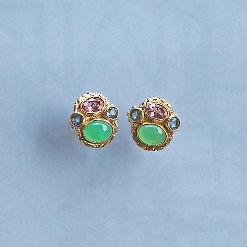 Blue, Green & Pink Queenie Studs