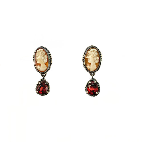 Cameo & Garnet Drop Earrings