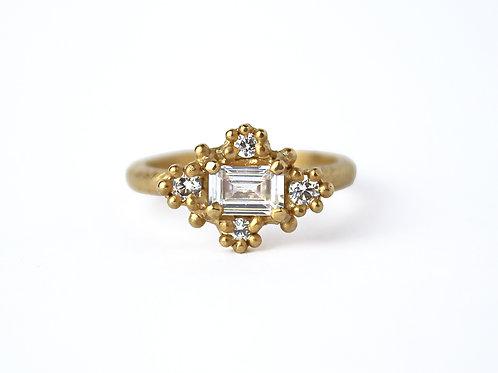 White Emerald Cut Diamond Croix Ring