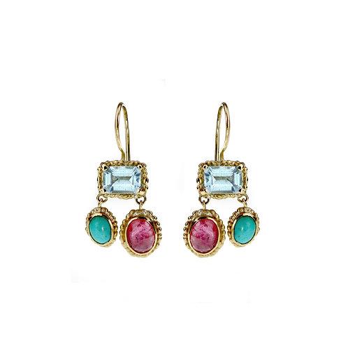 Blue & Red Trio Chandelier Earrings
