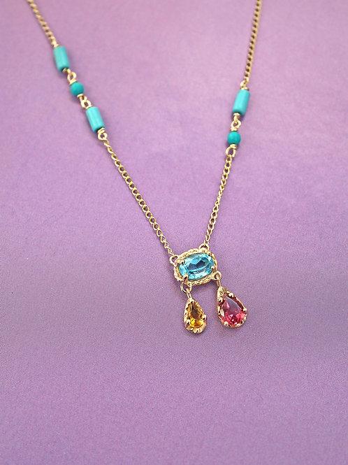 Blue, Pink & Orange Chandelier Pendant