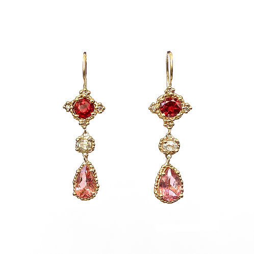 Pink & Red Midi Croix Drop Earrings