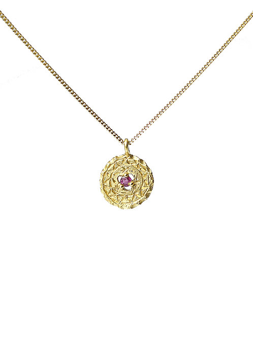 Gold Shield Pendant with Ruby